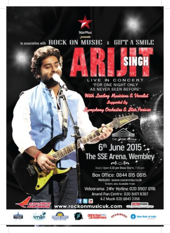 ARIJIT SINGH – Live in Concert on Saturday 6th June 2015 at The SSE, Wembley