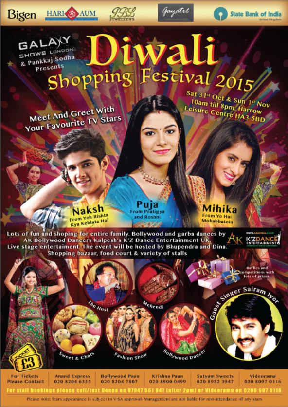 Diwali Shopping Festival 2015 on Saturday 31st October & Sunday 1st November 2015 at Harrow Leisure Centre, Harrow HA3 5BD