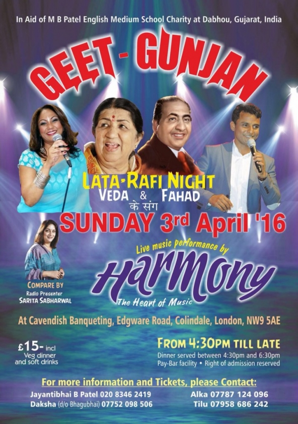 Geet – Gunjan Lata & Rafi Night (Charity Event) on Sunday 3rd April 2016 at Cavendish Banqueting, Colindale, NW9 5AE