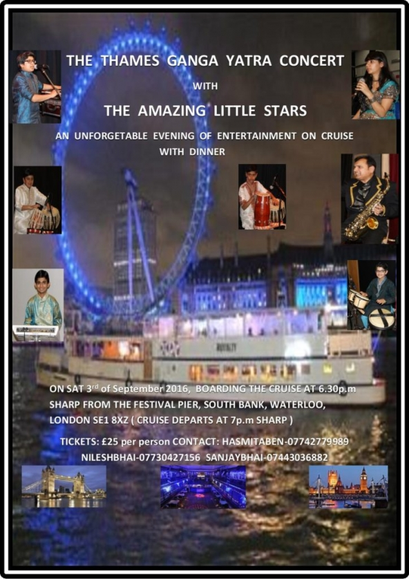 Thames Ganga Yatra Concert with the Amazing Little Stars on Saturday 3rd September 2016 from The Festival Pier, South Bank, Waterloo, London SE1 8XZ