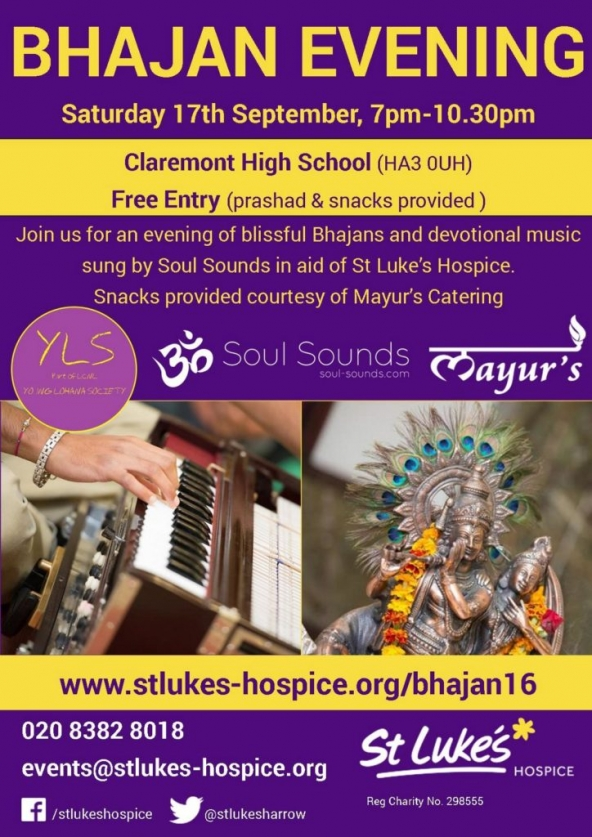 St Luke's Bhajan Evening (FREE ENTRY) on Saturday 17th September 2016 at Claremont High School, Claremont Avenue, Kenton, Harrow HA3 0UH