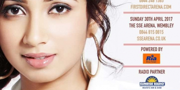 Shreya Ghoshal Live in Concert on Saturday 29th April 2017 at First Direct Arena, Leeds & on Sunday 30th April 2017 at The SSE Arena, Wembley, London