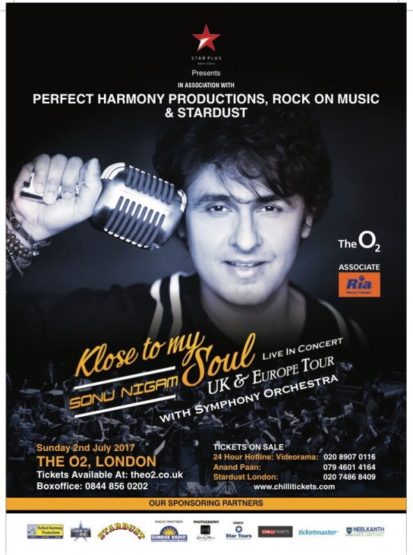 Sonu Nigam's Klose to My Soul, Live in Concert on Sunday 2nd July 2017 at The O2 London
