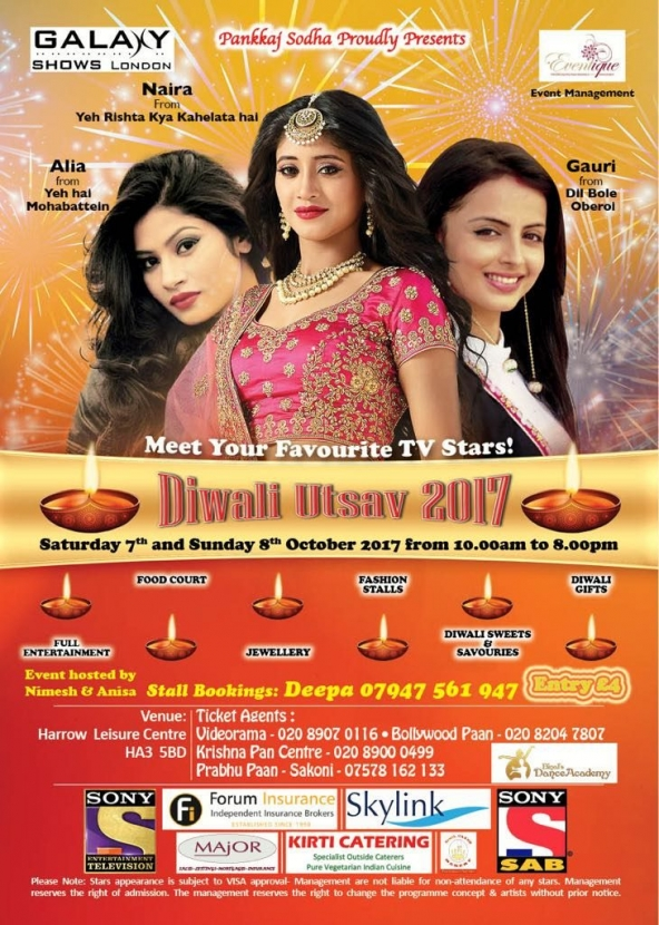 Diwali Utsav 2017 on Saturday 7th October & Sunday 8th October 2017 at Harrow Leisure Centre, Christchurch Avenue, Harrow HA3 5BD
