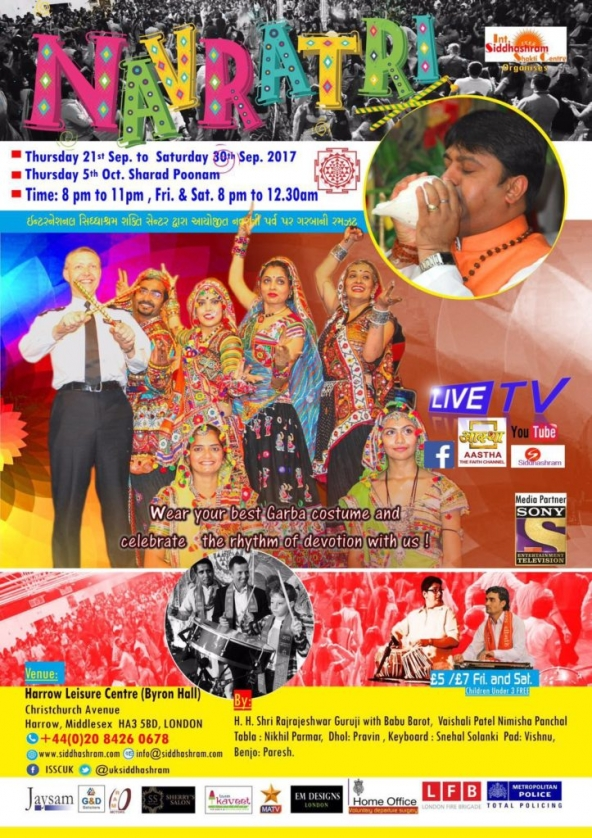 ISSC Navratri 2017 from Thursday 21st September until Saturday 30th September & Sharad Poonam on Thursday 5th October 2017 at Harrow Leisure Centre, Byron Hall, Christchurch Ave, Harrow HA3 5BD