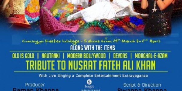 Bollywood's Mughal-E-Azam Tribute to Nusrat Fateh Ali Khan from Thursday 29th March until Easter Monday 2nd April 2018 at Bradford, Ruislip & Leicester