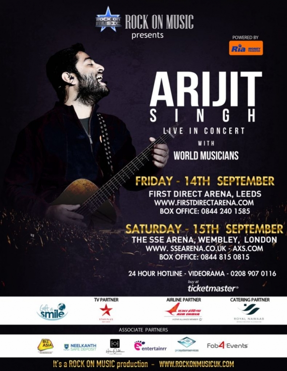 Arijit Singh Live in Concert on Friday 14th September 2018 at First Direct Arena, Leeds & on Saturday 15th September 2018 at The SSE Arena, Wembley, London