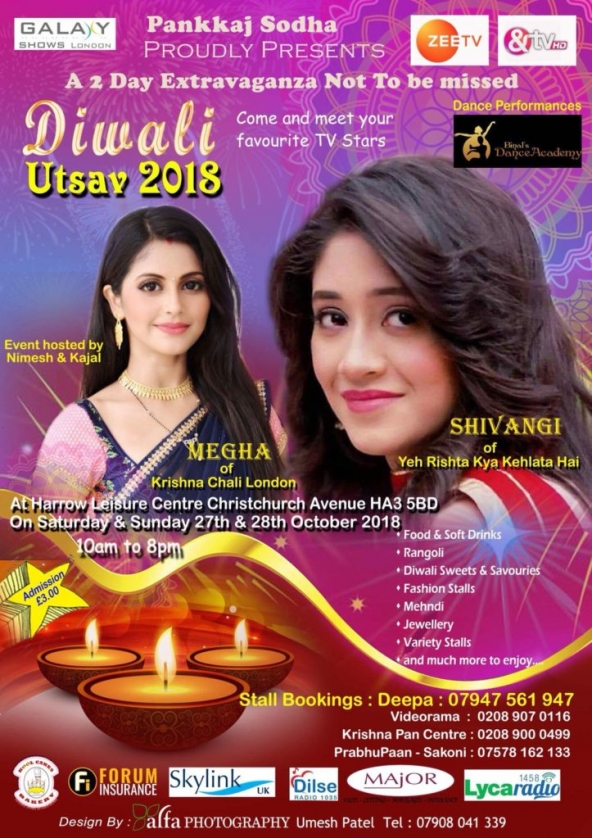 Diwali Utsav 2018 on Saturday 27th October & Sunday 28th October 2018 at Harrow Leisure Centre, Christchurch Avenue, Harrow HA3 5BD