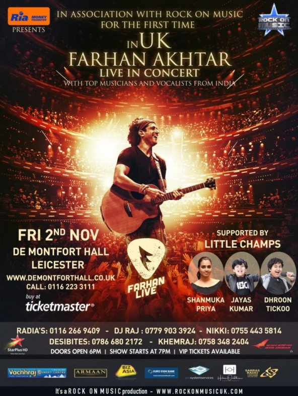 Farhan Akhtar Live in Concert supported by Little Champs on Friday 2nd November 2018 at De Montfort Hall, Leicester