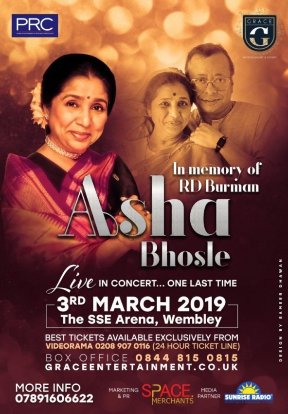 Asha Bhosle Live in Concert – One Last Time In Memory of RD Burman on Sunday 3rd March 2019 at SSE Arena, Wembley