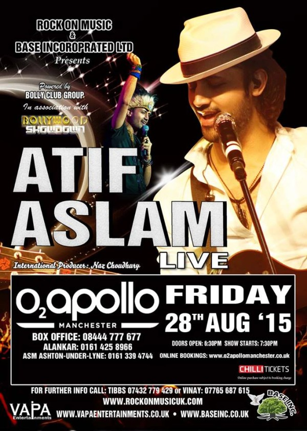 Atif Aslam 28th Aug 2015 Manchester
